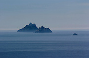 Evening light on the Skellig Rocks off the coast of County Kerry with the little Lemon Rock on right..Picture by Don MacMonagle