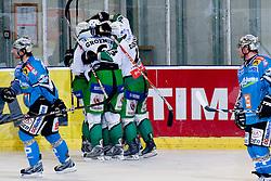 Team HDD Tilia Olimpija during ice-hockey match between HDD Tilia Olimpija and EHC Liwest Black Wings Linz in 19th Round of EBEL league, on November 7, 2010 at Hala Tivoli, Ljubljana, Slovenia. (Photo By Matic Klansek Velej / Sportida.com)