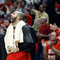 10 May 2011: Chicago Bulls power forward Carlos Boozer (5) and Chicago Bulls center Joakim Noah (13) celebrate on the bench during the Chicago Bulls 95-83 victory over the Atlanta Hawks, during game 5 of the Eastern Conference semi finals at the United Center, Chicago, Illinois, USA.