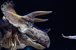 April 25, 2017 - Tokyo, Tokyo, Japan - The Dino-Safari exhibition featuring robotic dinosaurs. The rubber creatures make use of a 'Dino-Tronics' mechanism, which allows them to smoothly and quietly walk around, and move their heads and jaws. However the dinosaurs are not completely autonomous - performers encased in the models control their movements..The animatronics were created by Japanese firm ON-ART Corp. (Credit Image: © Alessandro Di Ciommo via ZUMA Wire)