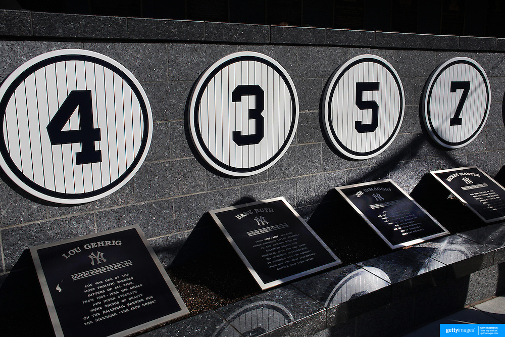 The retired numbers of Lou Gehrig, Babe Ruth, Joe DiMaggio and Mickey Mantle at Monument Park, an open-air museum located at the new Yankee Stadium containing a collection of monuments, plaques, and retired numbers honoring distinguished members of the New York Yankees. New York, USA. Photo Tim Clayton