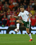 Jeff Hendrick of Republic of Ireland in action. Wales v Rep of Ireland , FIFA World Cup qualifier , European group D match at the Cardiff city Stadium in Cardiff , South Wales on Monday 9th October 2017. pic by Andrew Orchard, Andrew Orchard sports photography