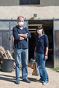 food shoppers at a farmer home selling during Covid 19 crisis France April 2020