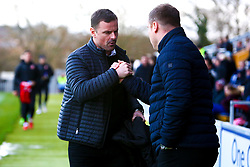 Swindon Town manager Richie Wellens and Mansfield Town manager David Flitcroft shake hands before kick off - Mandatory by-line: Ryan Crockett/JMP - 29/12/2018 - FOOTBALL - One Call Stadium - Mansfield, England - Mansfield Town v Swindon Town - Sky Bet League Two