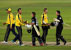 Sussex's Craig Cachopa and Sussex's Matt Machan shake hands with Hampshire's Sean Ervine and Hampshire's James Adams - Photo mandatory by-line: Robbie Stephenson/JMP - Mobile: 07966 386802 - 19/06/2015 - SPORT - Cricket - Southampton - The Ageas Bowl - Hampshire v Sussex - Natwest T20 Blast