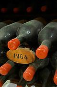 Bottles aging in the cellar. 1964. Chateau Grand Corbin Despagne, Saint Emilion Bordeaux France