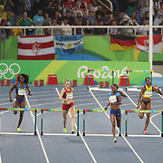 Athletics - Olympics: Day 13  Dalilah Muhammad of the United States winning the gold medal in the Women's 400m Hurdles with Sara Petersen of Denmark winning the silver medal and Ashley Spencer of the United States winning the bronze medal at the Olympic Stadium on August 18, 2016 in Rio de Janeiro, Brazil. (Photo by Tim Clayton/Corbis via Getty Images)