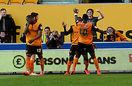 Nouha Dicko celebrates his second goal during the Sky Bet Championship match between Wolverhampton Wanderers and Leeds United at Molineux, Wolverhampton, England on 6 April 2015. Photo by Alan Franklin.