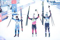 14.02.2021, Center Pokljuka, Pokljuka, SLO, IBU Weltmeisterschaften Biathlon, Sprint, Damen, Siegerehrung, im Bild chevalier boichet (anais) (fra), eckhoff (tiril) (nor), hauser (lisa theresa) (aut) // during the winner ceremony for the womens Sprint competition of IBU Biathlon World Championships at the Center Pokljuka in Pokljuka, Slovenia on 2021/02/14. EXPA Pictures © 2021, PhotoCredit: EXPA/ Pressesports/ Frederic Mons<br /> <br /> *****ATTENTION - for AUT, SLO, CRO, SRB, BIH, MAZ, POL only*****