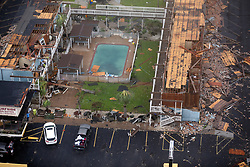 August 27, 2017 - Rockport, Texas, U.S. - Damage to the Surfside Inn and Suites in Rockport, Texas is seen in a Sunday, aerial photo. Rockport saw a direct hit Friday night  from the Category 4 storm. (Credit Image: © William Luther/San Antonio Express-News via ZUMA Wire)