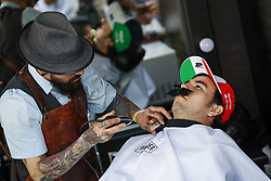 October 25, 2018 - Mexico-City, Mexico - Motorsports: FIA Formula One World Championship 2018, Grand Prix of Mexico, ..#11 Sergio Perez (MEX, Racing Point Force India F1 Team) seen in a Barbershop  (Credit Image: © Hoch Zwei via ZUMA Wire)