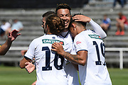 Auckland City FC's Yousif Al-Kalisy, Kayne Vincent, and Logan Rogerson celebrate a goal in the Handa Premiership football match, Hawke's Bay United v Auckland City FC, Bluewater Stadium, Napier, Sunday, January 31, 2021. Copyright photo: Kerry Marshall / www.photosport.nz