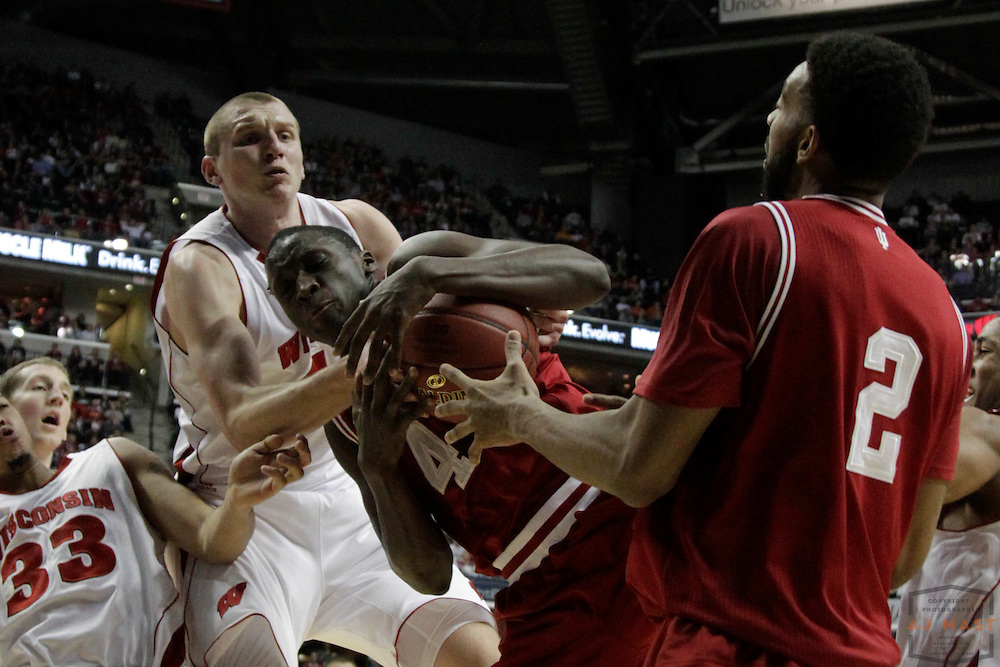 09 March 2012: Indiana Guard Victor Oladipo (4)  as the Indiana Hoosiers played the Wisconsin Badgers in a college basketball game during the Big 10 Men's Basketball Championship in Indianapolis