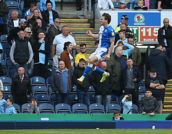 Blackburn Rovers' Sam Gallagher celebrates after scoring his sides second goal of the game during the Sky Bet Championship match at Ewood Park, Blackburn. Picture date: Saturday October 16, 2021.