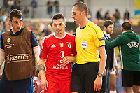 Benfica's Bruno Coelho talks with the referee during UEFA Futsal Cup 2015/2016 3º/4º place match. April 22,2016. (ALTERPHOTOS/Acero)