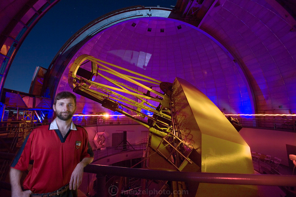 .COMPOSITE PHOTO. Lick Observatory on Mt. Hamilton. San Jose, California. Chris McCarthy, astronomer, with the 120-inch telescope. THIS IMAGE COMBINES TWO DIFFERENT EXPOSURES OF THE TELESCOPE AND DOME IN THE BACKGROUND. SEE 268 AND 263 FOR ORIGINAL IMAGES.  Exoplanets & Planet Hunters