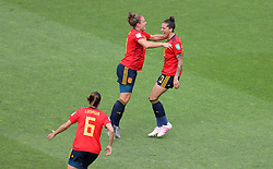 Spain's Jennifer Hermoso (right) celebrates scoring her side's first goal of the game with team-mates
