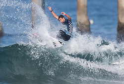 July 31, 2018 - Huntington Beach, California, United States - Huntington Beach, CA - Tuesday July 31, 2018: Jorgann Couzinet in action during a World Surf League (WSL) Qualifying Series (QS) Men's round of 96 heat at the 2018 Vans U.S. Open of Surfing on South side of the Huntington Beach pier. (Credit Image: © Michael Janosz/ISIPhotos via ZUMA Wire)