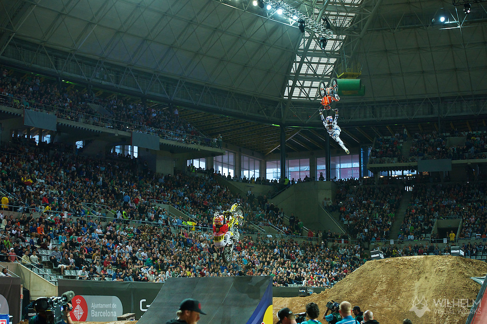 Lance Coury and Mat Rebeaud during Moto X Speed and Style Finals at the 2013 X Games Barcelona in Barcelona, Spain. ©Brett Wilhelm/ESPN