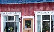 Traditional typical painted corrugated metal house in the old town area of capital city of Reykjavik, Iceland