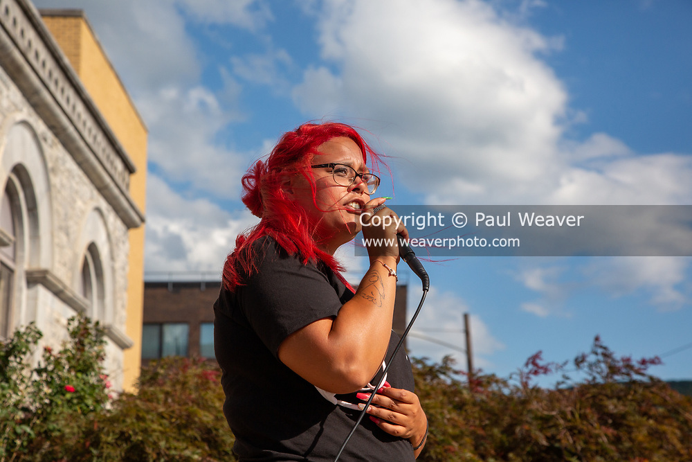 """Destiny Urena from Lock Haven speaks during a Black Lives Matter rally at Williamsport City Hall. About 200 people attended the event which was co-sponsored by """"If Not Us, Then Who?"""" and the Lycoming Tri-County NAACP."""