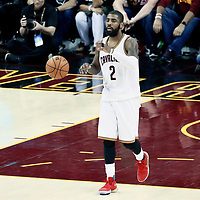 09 June 2017: Cleveland Cavaliers guard Kyrie Irving (2) brings the ball up court during the Cleveland Cavaliers 137-11 victory over the Golden State Warriors, in game 4 of the 2017 NBA Finals, at  the Quicken Loans Arena, Cleveland, Ohio, USA.