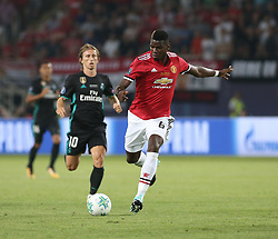 August 8, 2017 - Skopje, Macedonia - Paul Pogba of Manchester United and Luka Modric of Real Madrid during the UEFA Super Cup final between Real Madrid and Manchester United at the Philip II Arena on August 8, 2017 in Skopje, Macedonia. (Credit Image: © Raddad Jebarah/NurPhoto via ZUMA Press)