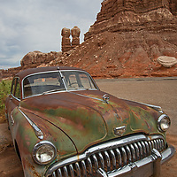 An old Buick rusts beside the road in Bluff, Utah, a gateway to Bears Ears National Monument.