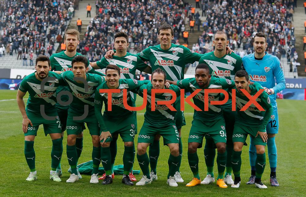 Bursaspor's players during their Turkish superleague soccer match Besiktas between Bursaspor at Ataturk Olimpiyat Stadium in Istanbul Turkey on Sunday 15 February 2015. Photo by Aykut AKICI/TURKPIX