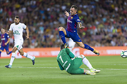 August 7, 2017 - Barcelona, Spain - Paco Alcacer of FC Barcelona and Artur Moraes during the match between FC Barcelona vs Chapecoense, for the Joan Gamper trophy, played at Camp Nou Stadium on 7th August 2017 in Barcelona, Spain. (Credit: Urbanandsport / NurPhoto) (Credit Image: © Urbanandsport/NurPhoto via ZUMA Press)