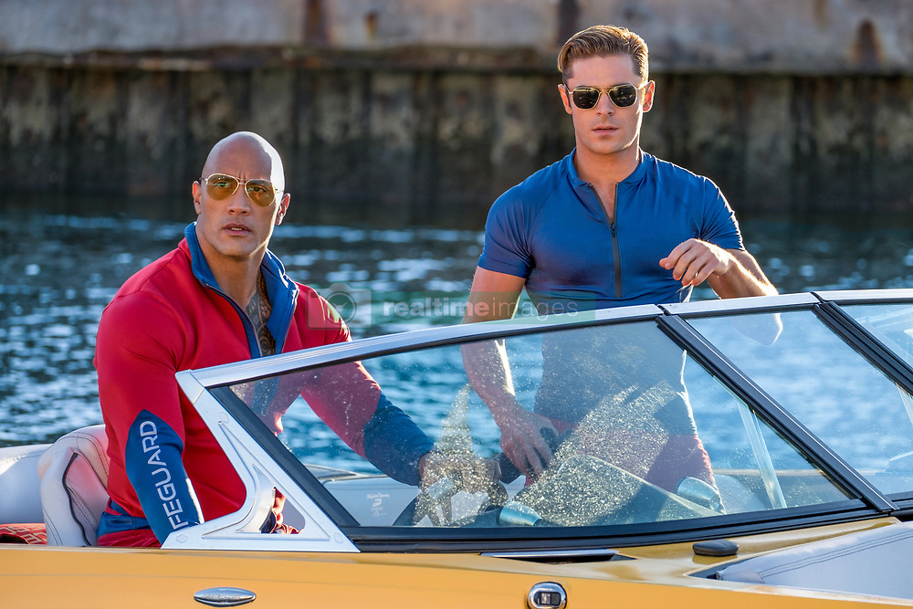 RELEASE DATE: May 26, 2017 TITLE: Baywatch STUDIO: Paramount Pictures DIRECTOR: Seth Gordon PLOT: Two unlikely prospective lifeguards vie for jobs alongside the buff bodies who patrol a beach in California STARRING: Dwayne Johnson as Mitch Buchannon, Zac Efron as Matt Brody. (Credit: © Paramount Pictures/Entertainment Pictures/ZUMAPRESS.com)