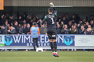 Millwall goalkeeper Jordan Archer (1) celebrating after goal during the The FA Cup 5th round match between AFC Wimbledon and Millwall at the Cherry Red Records Stadium, Kingston, England on 16 February 2019.