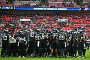 Jaguars team huddle during the NFL game between Houston Texans and Jacksonville Jaguars at Wembley Stadium in London, United Kingdom. 03 November 2019