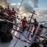 Leg 3, Cape Town to Melbourne, day 02, Blair Tuke, Pablo Arrarte, Tamara Echegoyen, Louis Sinclair  on board MAPFRE. Photo by Jen Edney/Volvo Ocean Race. 11 December, 2017.