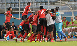 October 10, 2017 - Couva, Caroni County, Trinidad & Tobago - Couva, Trinidad & Tobago - Tuesday Oct. 10, 2017: Trinidad & Tobago score and celebrate during a 2018 FIFA World Cup Qualifier between the men's national teams of the United States (USA) and Trinidad & Tobago (TRI) at Ato Boldon Stadium. (Credit Image: © John Todd/ISIPhotos via ZUMA Wire)