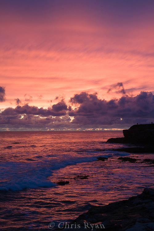 Pink and purple sunset over Monterey Bay, Santa Cruz, California