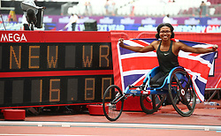 July 22, 2018 - London, United Kingdom - Great Britain Kare Adenegan  winner and World Record during the T34 100m Women  during the Muller Anniversary Games IAAF Diamond League Day Two at The London Stadium on July 22, 2018 in London, England. (Credit Image: © Action Foto Sport/NurPhoto via ZUMA Press)