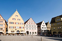 Colorful architecture of historic city center, Rothenburg ob der Tauber, Franconia, Bavaria, Germany