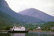 Hardingen car and passenger ferry ship at Kvanndal, Hardanger, Norway 1970