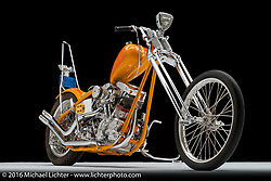 """Huero Loco"", an orange '69 shovelhead built by by Trevelen Rabanal of SuperCo in Los Angeles, CA. Photographed by Michael Lichter in Sturgis SD August 3, 2016 ©2016 Michael Lichter"