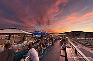 The view from Caseys Sky Bar at sunset in downtown Whitefish, Montana, USA