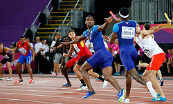 LONDON, Aug. 14, 2017  Gil Roberts (R) and Wilbert London III of Team United States compete during Men's 4X400 Relay Final on Day 10 of the 2017 IAAF World Championships at London Stadium in London, Britain, on Aug. 13, 2017. Team United States took the silver with 2 minutes 58.61 seconds. (Credit Image: © Wang Lili/Xinhua via ZUMA Wire)