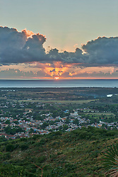 Panoramic view of town and sea during sunset, Trinidad, Cuba