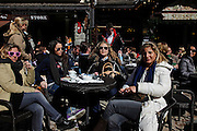 "Italy, Madonna di Campiglio, coffe and sun at the "" Suisse bar"" piazza Righi"