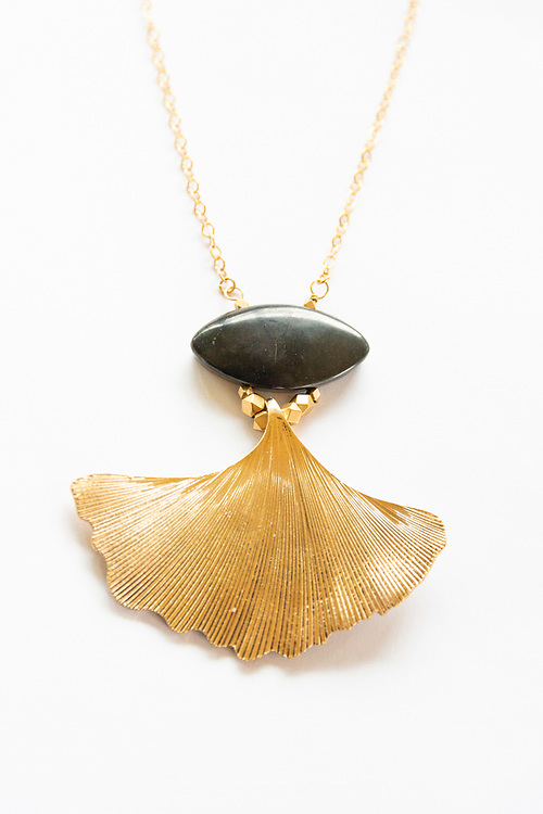 This beautiful Ginkgo leaf is our signature piece for the collection.  Ginkgo's are one of the most resilient and oldest trees.  These ancient trees survived the atomic bomb attack in Hiroshima.  They are also one of the oldest fossils found dating back 270 million years.  Wear this Ginkgo and Shungite combination for strength, resilience, and protection.