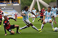 Sean Scannell of Huddersfield Town shoots for goal against Queens Park Rangers during the Sky Bet Championship match at the John Smiths Stadium, Huddersfield<br /> Picture by Graham Crowther/Focus Images Ltd +44 7763 140036<br /> 29/08/2015