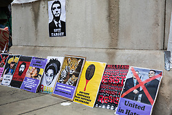 London, UK. 12th January, 2019. Posters brought by supporters of Brazilian Women Against Fascism and Ele Não Students London to a protest outside the Brazilian embassy in solidarity with women, students, environmental campaigners, black communities, LGBTQIA+ communities, indigenous peoples, peasants and workers protesting in Brazil following the inauguration of President Jair Bolsonaro.