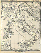Italia Antiqua Ancient, Historical map of Italy Copperplate engraving From the Encyclopaedia Londinensis or, Universal dictionary of arts, sciences, and literature; Volume VIII;  Edited by Wilkes, John. Published in London in 1810.