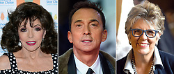 File photos of (from the left) Dame Joan Collins, Bruno Tonioli and Prue Leith.