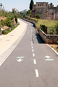 Cycling lane in the Valley of the Cross park, Rehavia, West Jerusalem, Israel
